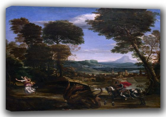 Domenichino (Domenico Zampieri): Landscape with St. (Saint) George and the Dragon. Fine Art Canvas. Sizes: A4/A3/A2/A1 (001487)